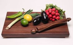Jerry Hollon - walnut cutting board and rolling pin
