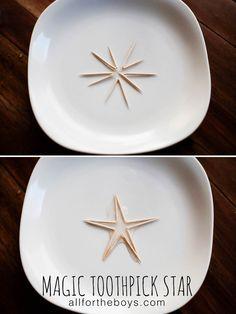 Magic toothpick star trick