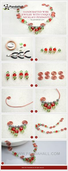 This handcrafted wire jewelry necklace is an entirely handmade piece. By using some common wires and beads, you can make a variety of unique necklace pendants with basic wire wrapping techniques.