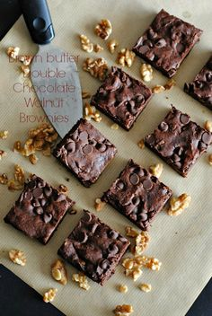 Brown butter double chocolate walnut brownies