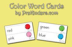 Color Word Cards Printable from PreKinders.com