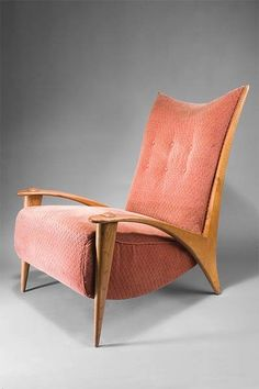 Paul Schneider von Esleben; Ashwood 'Fish Hook' Armchair for Thonet, 1948.