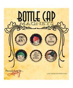 Winter Bottle Cap Magnet Set
