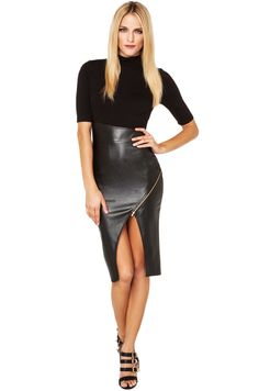 Asymmetric Pleather Skirt Dress in Black