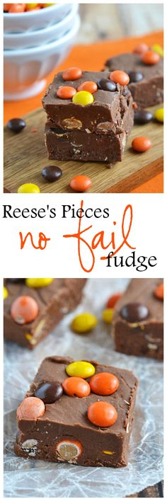 In just a few short minutes {no candy thermometer needed!} you can have this Reese's Pieces No-Fail Fudge chilling and ready to go!