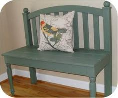 DIY bench from a headboard neat idea to upcycle something old into something new and blue. A wonderful new marriage!