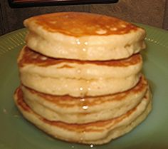 BEST PANCAKES EVER recipe ~ They are super tall, light and fluffy and yet they don't get all mushy when syrup is added, they are excellent!
