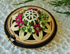 An extra doily covered bead at the center.❤❤❤