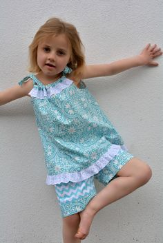 Pillowcase top & shorts http://www.felicitysewingpatterns.com/product/new-spring-pattern-release-peachy-dress-playsuit-girls-dress-and-romper-sewing-pattern-6-sty