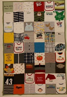 All of the squares were cut smaller to create this adorable quilt from a variety of infant and toddler items.  The final result is a Picnic sized quilt!    54 square Wee quilt with Sage Green backing