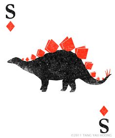 graphic, stegosaurus, dinosaur design, yau hoong, diamonds, tang yau, dinosaur illustrations, playing cards, dino card