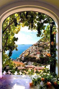 bucket list, positano, window view, villa, dream, amalfi coast, place, italy, itali