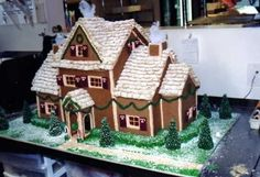 Gingerbread house with candy windows,  shredded wheat roof,  fondant shutters,  sugar cone trees, royal icing details.  Made it for the chil...