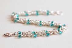 Teal Beaded Silver Byzantine Chainmaille Bracelet by PJsPrettys, $22.73