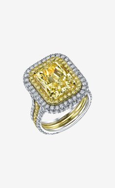Shayan Afshar Fancy Light Yellow Radiant Cut Diamond Ring in White Gold Setting