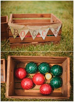 Bocce ball: perfect for the beach or the backyard. #LiveAlfresco #SummerResolutions lawn games wedding, wedding receptions, bocce wedding, bocc ball, wedding games, wedding bocce, outdoor games, outdoor weddings, wedding lawn game