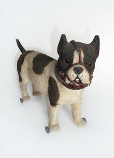 Victorian Flocked Papier Mache Dog On Wheels by MaisonDogLondon, £500.00