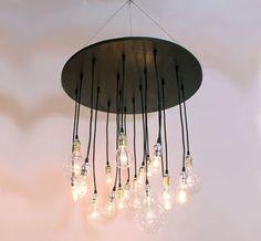 decor, industri chandeli, idea, dream, chandeliers, bulb, light, design, circular chandeli