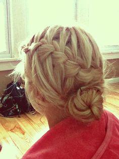 Cute braid with bun.