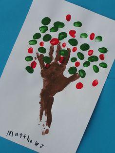 Hand/finger paint apple tree art