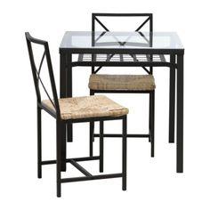 "Table (length 28 3/4"", width 28 3/4"", height 29 1/2""). Chair (width 16"", depth 19"", height 33 7/8"", seat height 18"", seat width 16"", seat de... $99"