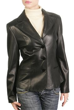 Wear this BGSD Women's Heritage Lambskin Leather Blazer for dressing up or after hours.  This jacket is accented with a notched collar and cute pockets with a three button closure for a fashionable appearance.  $199.99 http://www.luxurylane.com/421-170020-blk.html