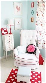 Robin's egg blue and red nursery