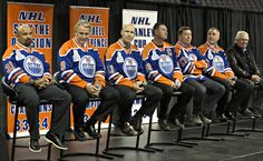 Oilers hold 1984 Stanley Cup reunion photo.  From left - Grant Fuhr, Glenn Anderson, Mark Messier, Wayne Gretzky, Jari Kurri, Paul Coffee and Glen Sather.