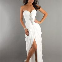 Corset Sweetheart Beaded with front slit sweep train  Dress PD1901