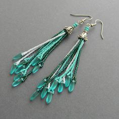 Turquoise and gold  fringe earrings  beadwork by Anabel27shop,