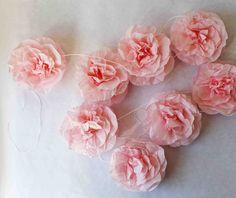 pink tissue paper rose garland
