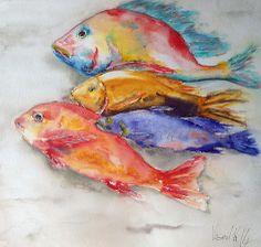 4 Fish Acuarela y gouache 30 x 30 cm Autora   Isabella Kramer