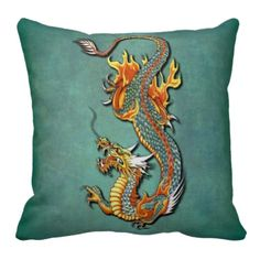 Oriental Fantasy Art. Unique, trendy, fashionable and pretty throw pillow. Beautiful, colorful orange and yellow vintage old school Chinese fire dragon tattoo design. On teal blue green grunge background. For the tattoo artist, oriental, Chinese or Japanese art, dragon, fantasy creature, or science fiction lover. Cool birthday gift or Christmas present. Stylish pillow for the master or children's bedroom, college dorm, living or family room, or office.