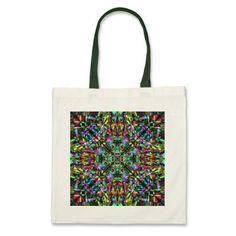 #Green and #Rainbow #Mandala #Fractal Pattern #Bag $11.20