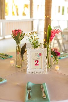 Eclectic Pink and Aqua Centerpiece