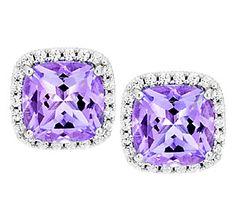 Judith Ripka Sterling 3.40ct Amethyst & Diamonique Button Earrings