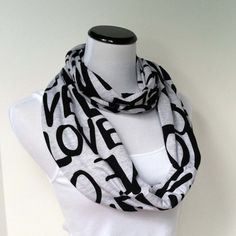Love Scarf Jersey Knit Infinity Scarf Soft Circle Scarf by ModLux