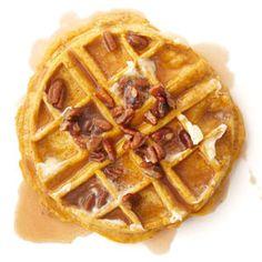 Pumpkin Waffles with Maple Pecan Cream