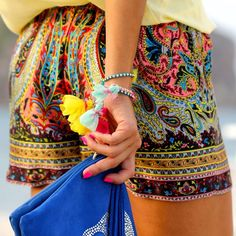 fashion, cloth, style, color, outfit, boho, wear, summer shorts, print