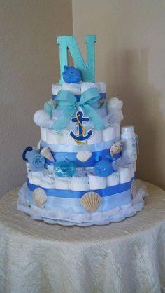 Ocean themed diaper cake