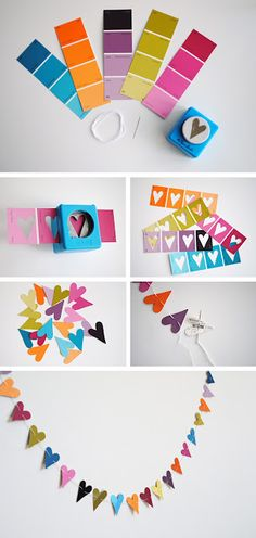 fun! valentine crafts, heart crafts, valentine day, paint swatches, paper punch, garland, paint samples, parti, color swatches