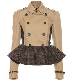 BURBERRY PRORSUM Trench Jacket with Tweed Peplum