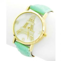 Eiffel Tower Mint Leather Watch