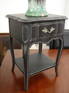 Upcycled Reclaimed Vintage French Paris Provential Black Paint Distressed 1 Dr Nightstand End Accent Table. $149.00, via Etsy.