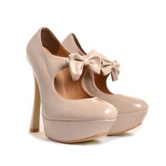 Paola Beige Patent Bow Front Platform High Heels Shoes ($25) ❤ liked on Polyvore