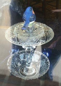 Bird feeder DIY glass plate/ bowl/ candlestick