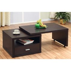 @Overstock - This chic, versatile table makes a modern impression in spaces of all styles. This coffee table features a gliding table top on casters that can reduce or extend table length.  http://www.overstock.com/Home-Garden/Jillian-Modern-Extendable-Coffee-Table/5735838/product.html?CID=214117 $186.99