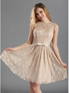 Bridesmaid Dresses - $140.99 - A-Line/Princess Scoop Neck Knee-Length Charmeuse Lace Bridesmaid Dress With Bow(s)  http://www.dressfirst.com/A-Line-Princess-Scoop-Neck-Knee-Length-Charmeuse-Lace-Bridesmaid-Dress-With-Bow-S-007019660-g19660