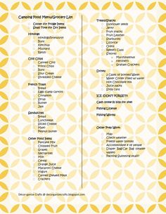 sample grocery list for camping