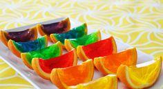 Rainbow Jello Orange Wedges!